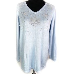 Quacker Factory Blue Snowflake Pearl Sweater M